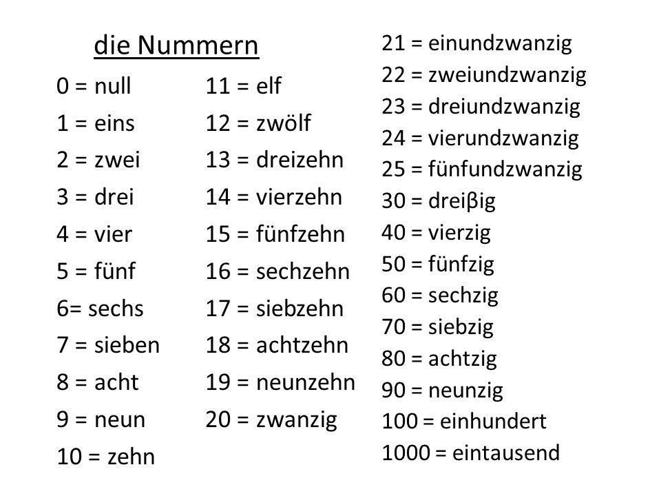 die Nummern 0 = null 1 = eins 2 = zwei 3 = drei 4 = vier 5 = fünf 6= sechs 7 = sieben 8 = acht 9 = neun 10 = zehn 11 = elf 12 = zwölf 13 = dreizehn 14