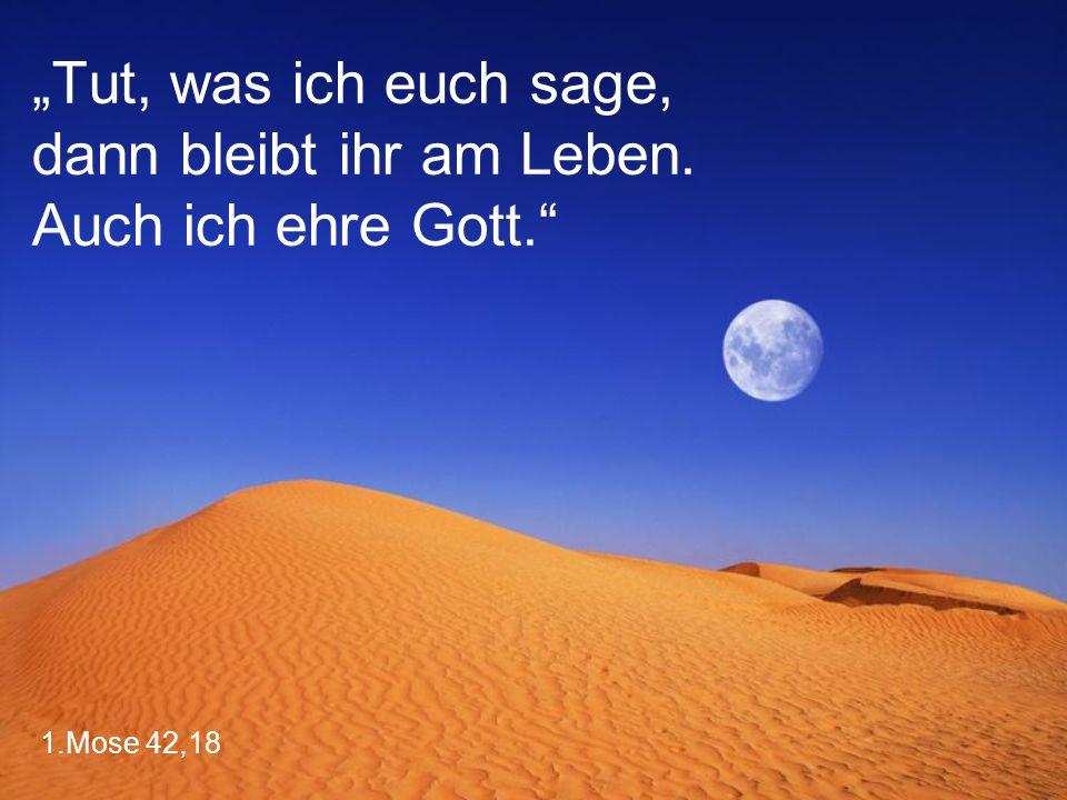 """1.Mose 42,18 """"Tut, was ich euch sage, dann bleibt ihr am Leben. Auch ich ehre Gott."""""""