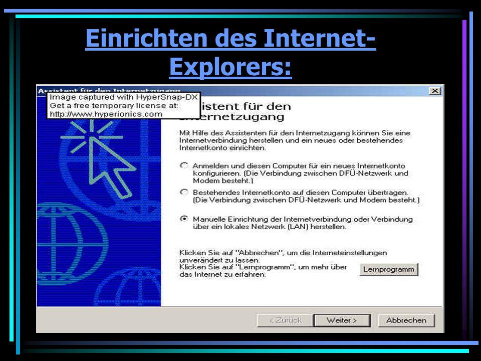 Einrichtung des Internet-Explorers