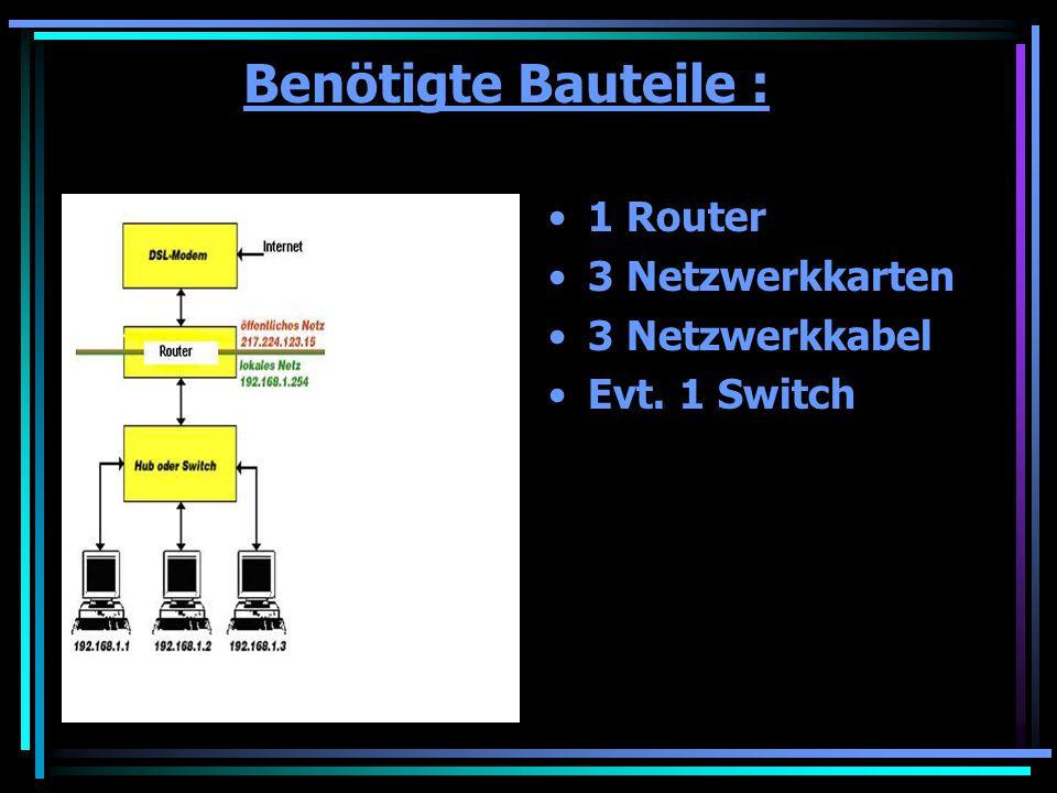 Benötigte Bauteile : 1 Router 3 Netzwerkkarten 3 Netzwerkkabel Evt. 1 Switch