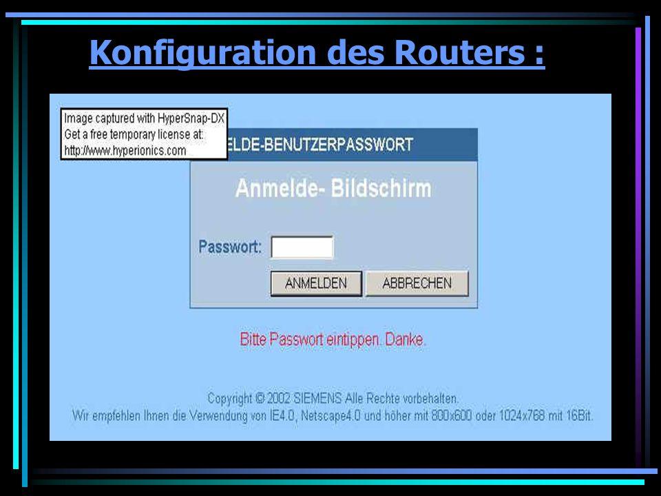 Konfiguration des Routers :
