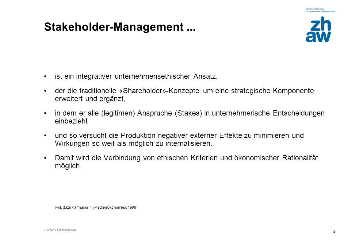 Zürcher Fachhochschule 3 Das Konzept I Das Stakeholder-Konzept versteht Medienunternehmen als öffentlich exponierte Organisationen, an die verschiedenste Ansprüche herangetragen werden.