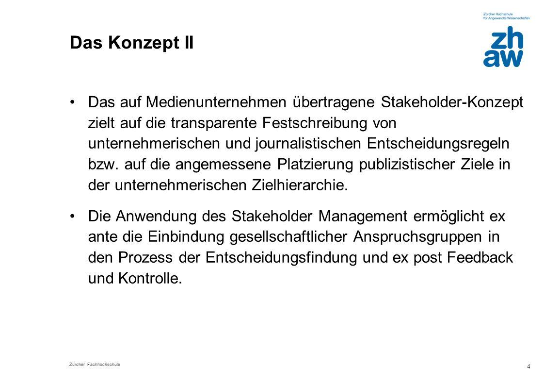 Zürcher Fachhochschule 4 Das Konzept II Das auf Medienunternehmen übertragene Stakeholder-Konzept zielt auf die transparente Festschreibung von untern
