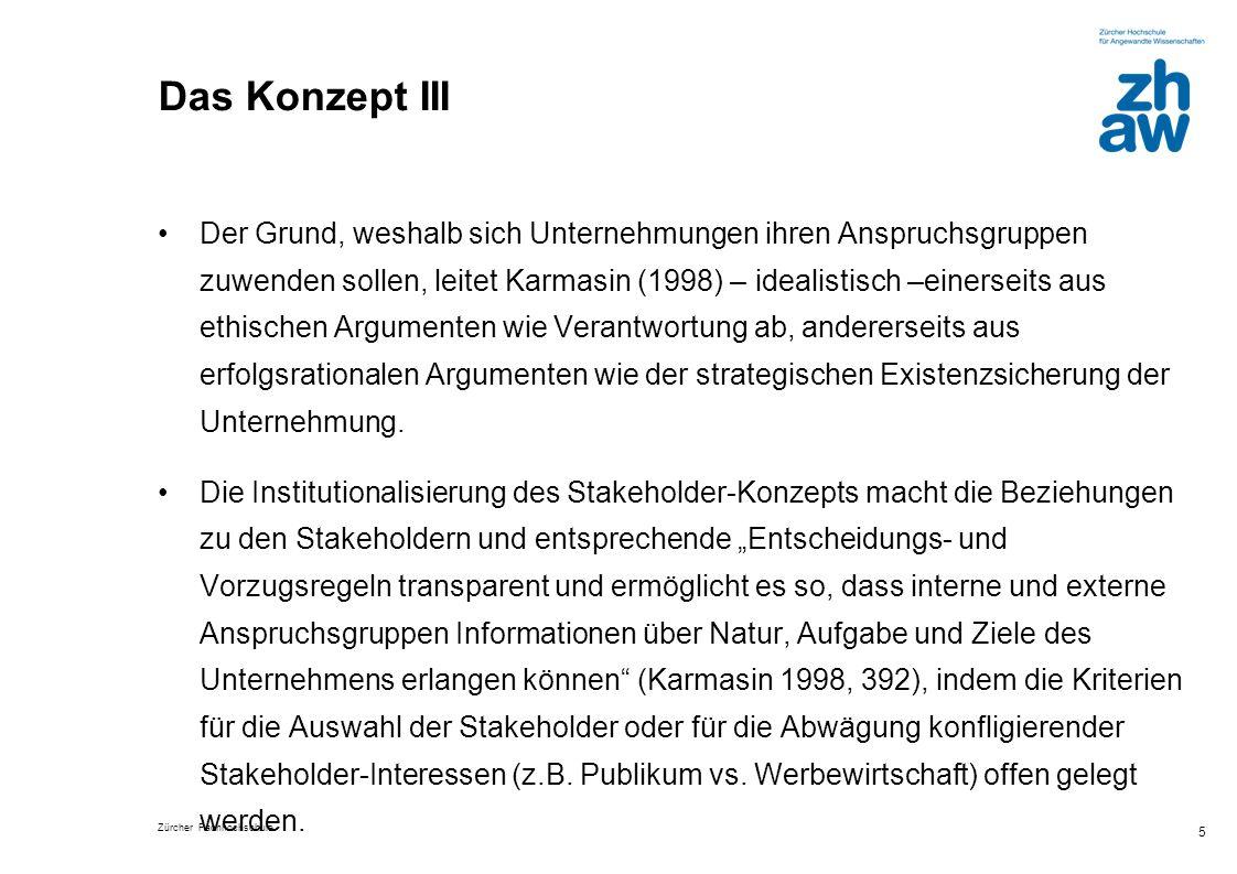Zürcher Fachhochschule 5 Das Konzept III Der Grund, weshalb sich Unternehmungen ihren Anspruchsgruppen zuwenden sollen, leitet Karmasin (1998) – ideal
