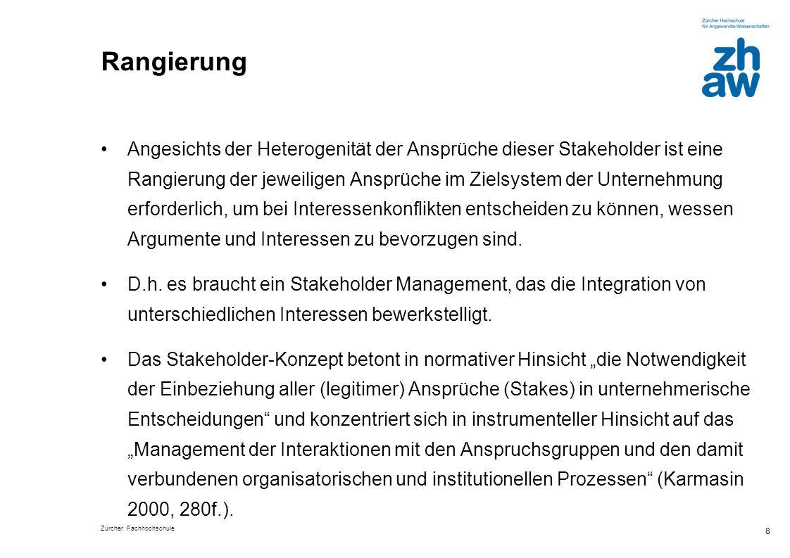 Zürcher Fachhochschule 8 Rangierung Angesichts der Heterogenität der Ansprüche dieser Stakeholder ist eine Rangierung der jeweiligen Ansprüche im Ziel