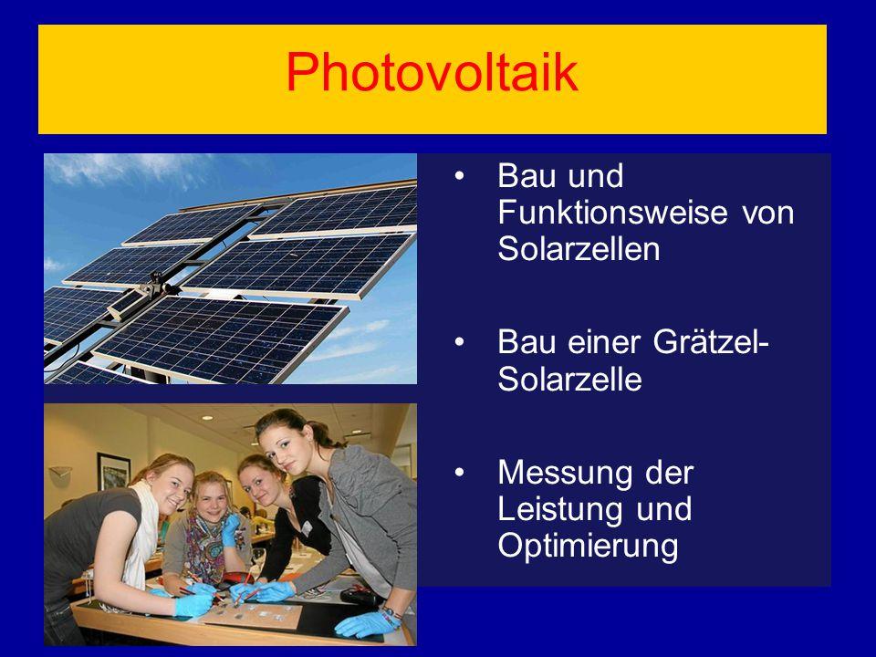 Photovoltaik Bau und Funktionsweise von Solarzellen Bau einer Grätzel- Solarzelle Messung der Leistung und Optimierung