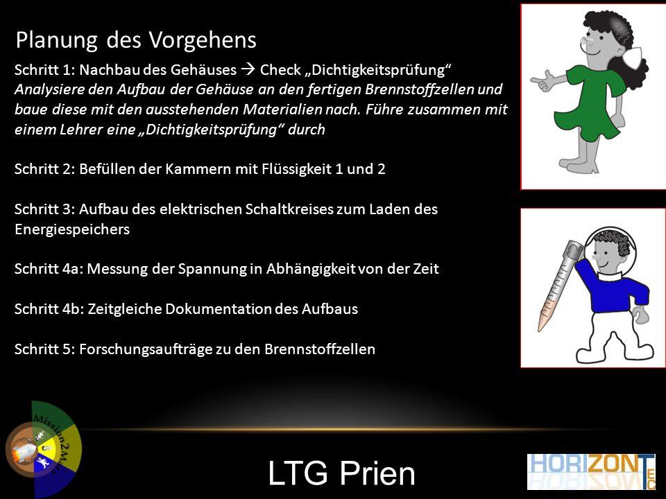 """LTG Prien Planung des Vorgehens Schritt 1: Nachbau des Gehäuses  Check """"Dichtigkeitsprüfung Analysiere den Aufbau der Gehäuse an den fertigen Brennstoffzellen und baue diese mit den ausstehenden Materialien nach."""
