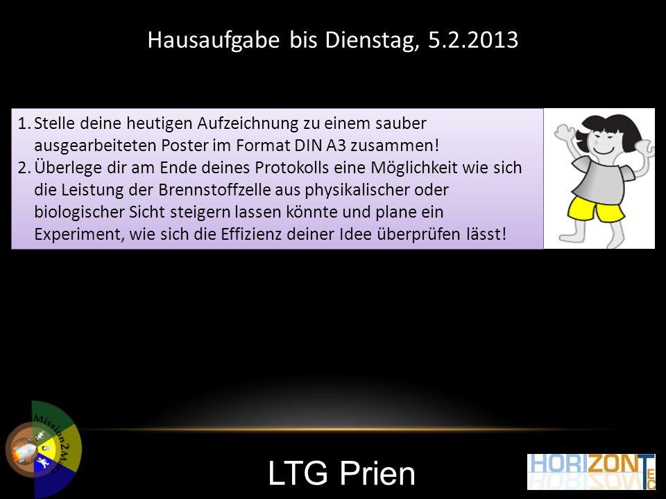 LTG Prien Hausaufgabe bis Dienstag, 5.2.2013 1.Stelle deine heutigen Aufzeichnung zu einem sauber ausgearbeiteten Poster im Format DIN A3 zusammen! 2.