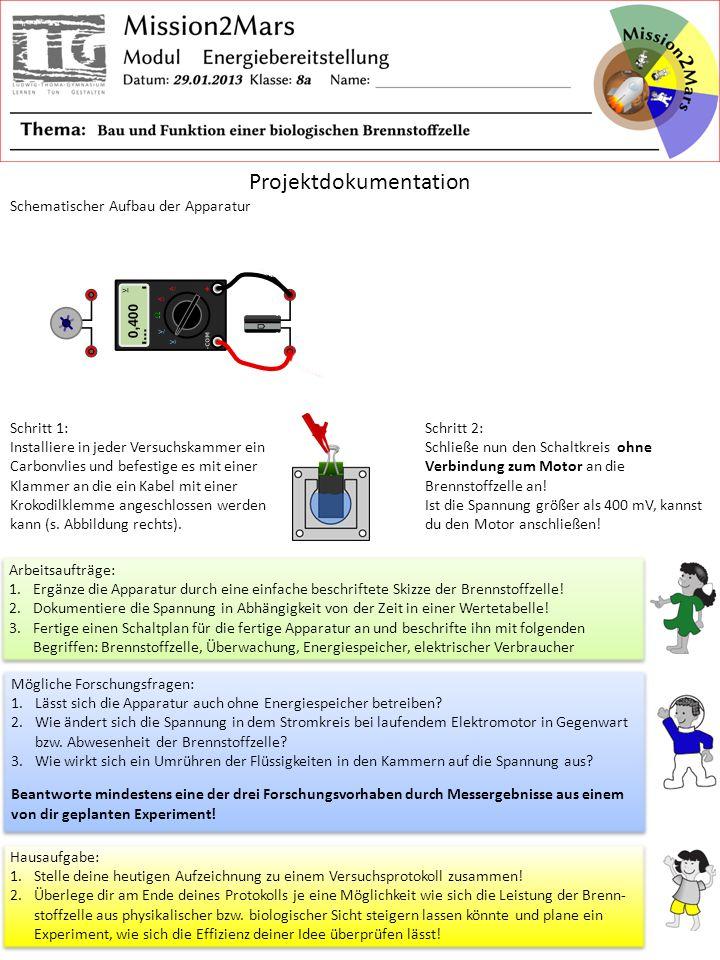 Projektdokumentation Schematischer Aufbau der Apparatur Schritt 1: Installiere in jeder Versuchskammer ein Carbonvlies und befestige es mit einer Klam