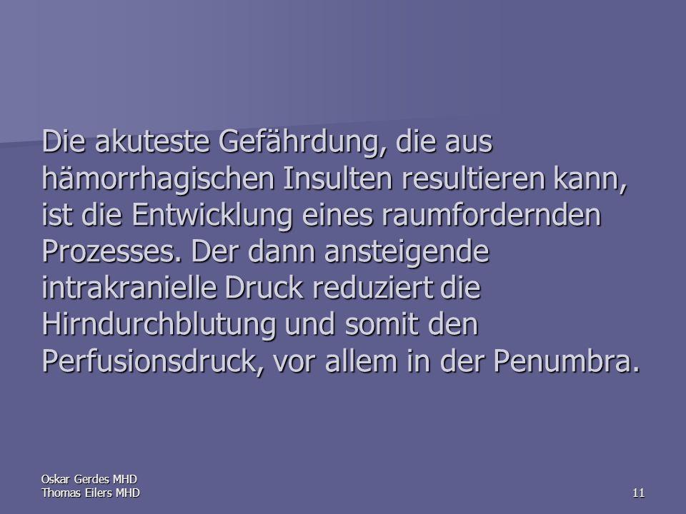 Oskar Gerdes MHD Thomas Eilers MHD11 Die akuteste Gefährdung, die aus hämorrhagischen Insulten resultieren kann, ist die Entwicklung eines raumfordernden Prozesses.