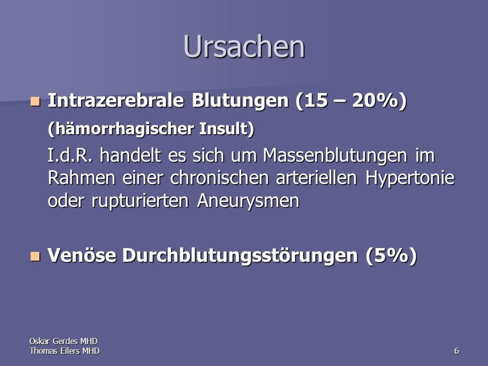 Oskar Gerdes MHD Thomas Eilers MHD6 Ursachen Intrazerebrale Blutungen (15 – 20%) Intrazerebrale Blutungen (15 – 20%) (hämorrhagischer Insult) I.d.R.
