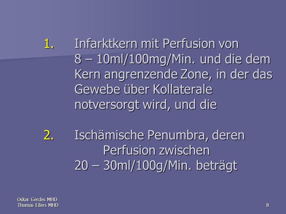 Oskar Gerdes MHD Thomas Eilers MHD9 Die Aufrechterhaltung der elektrischen Aktivität bedarf eines CBF von mindestens 15 – 18 ml/100g/Min.