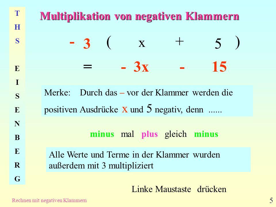 Multiplikation von negativen Klammern THSEISENBERGTHSEISENBERG Rechnen mit negativen Klammern 5 -( x + 5 ) = - 3x - 15 Linke Maustaste drücken Merke: