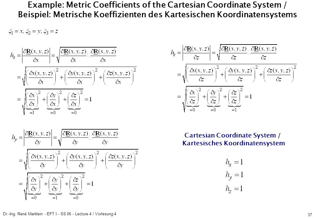 Dr.-Ing. René Marklein - EFT I - SS 06 - Lecture 4 / Vorlesung 4 37 Example: Metric Coefficients of the Cartesian Coordinate System / Beispiel: Metris
