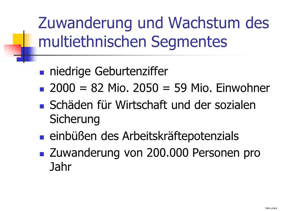 Zuwanderung und Wachstum des multiethnischen Segmentes niedrige Geburtenziffer 2000 = 82 Mio.