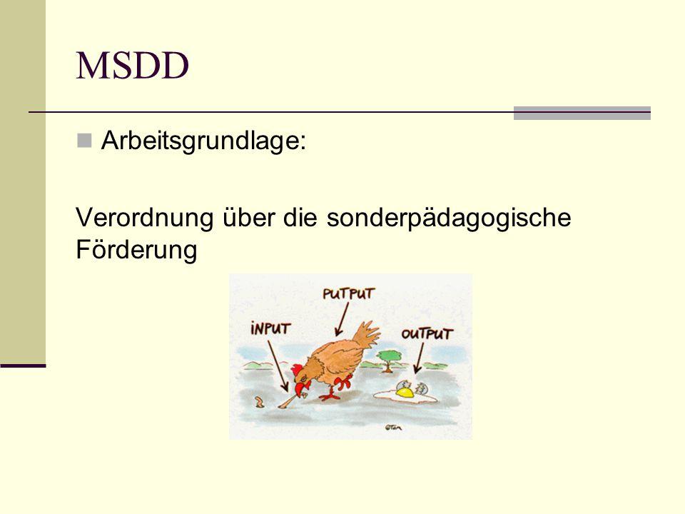MSDD Arbeitsgrundlage: Verordnung über die sonderpädagogische Förderung