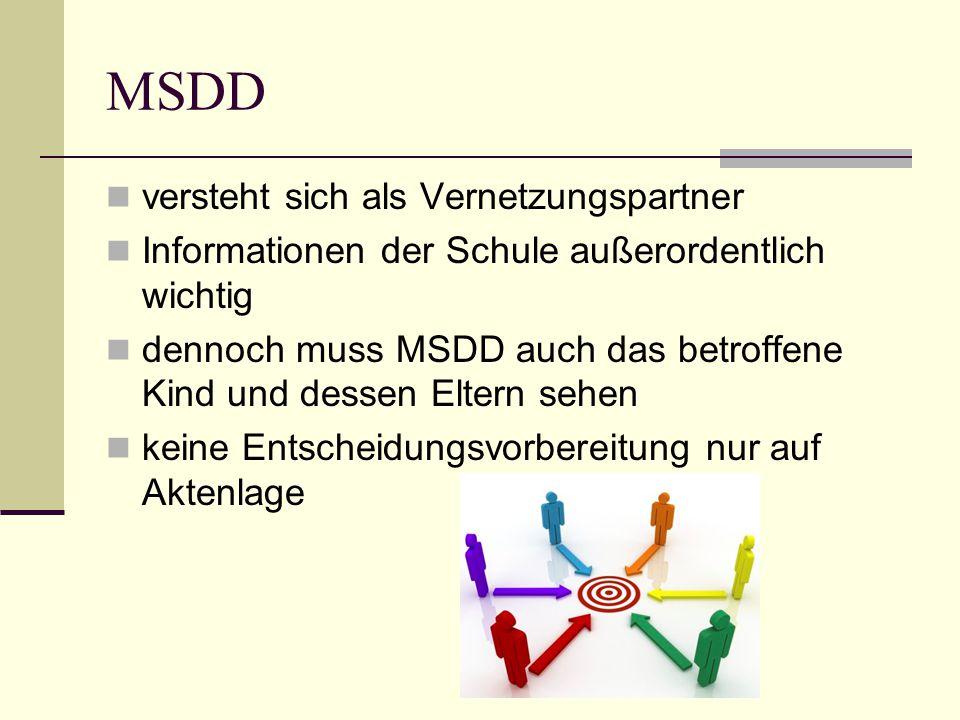 MSDD versteht sich als Vernetzungspartner Informationen der Schule außerordentlich wichtig dennoch muss MSDD auch das betroffene Kind und dessen Eltern sehen keine Entscheidungsvorbereitung nur auf Aktenlage