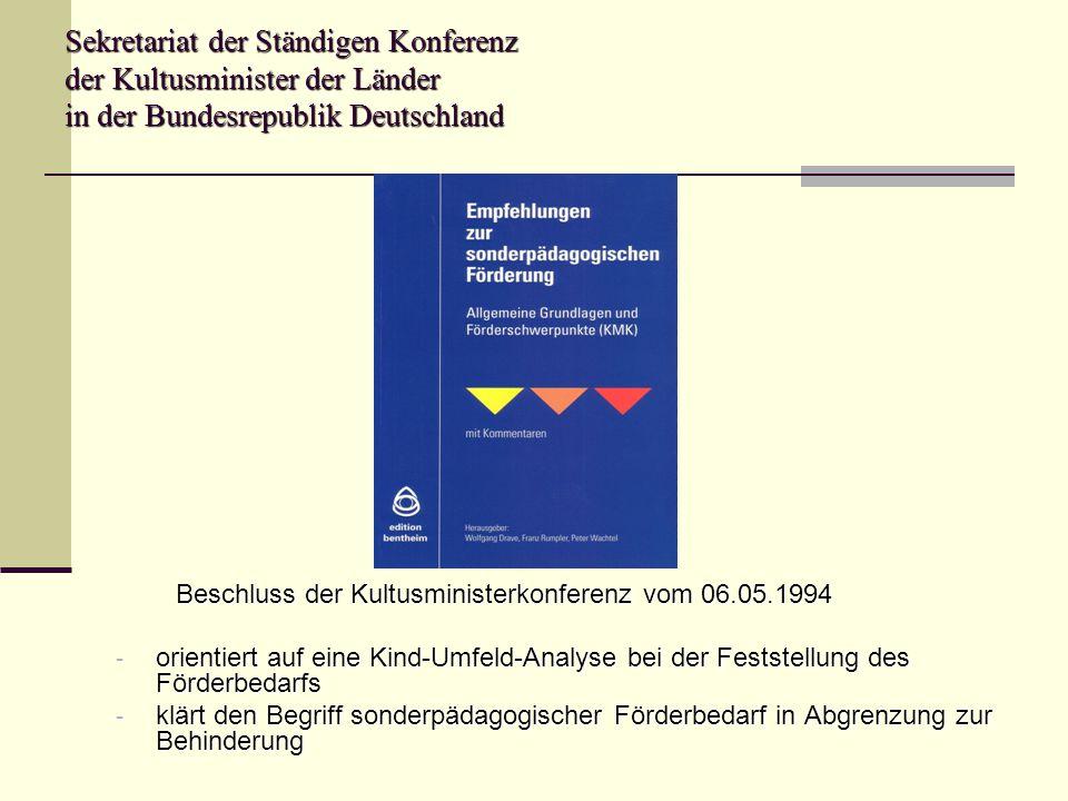 Sekretariat der Ständigen Konferenz der Kultusminister der Länder in der Bundesrepublik Deutschland Beschluss der Kultusministerkonferenz vom 06.05.19