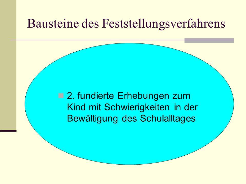 Bausteine des Feststellungsverfahrens 2. fundierte Erhebungen zum Kind mit Schwierigkeiten in der Bewältigung des Schulalltages