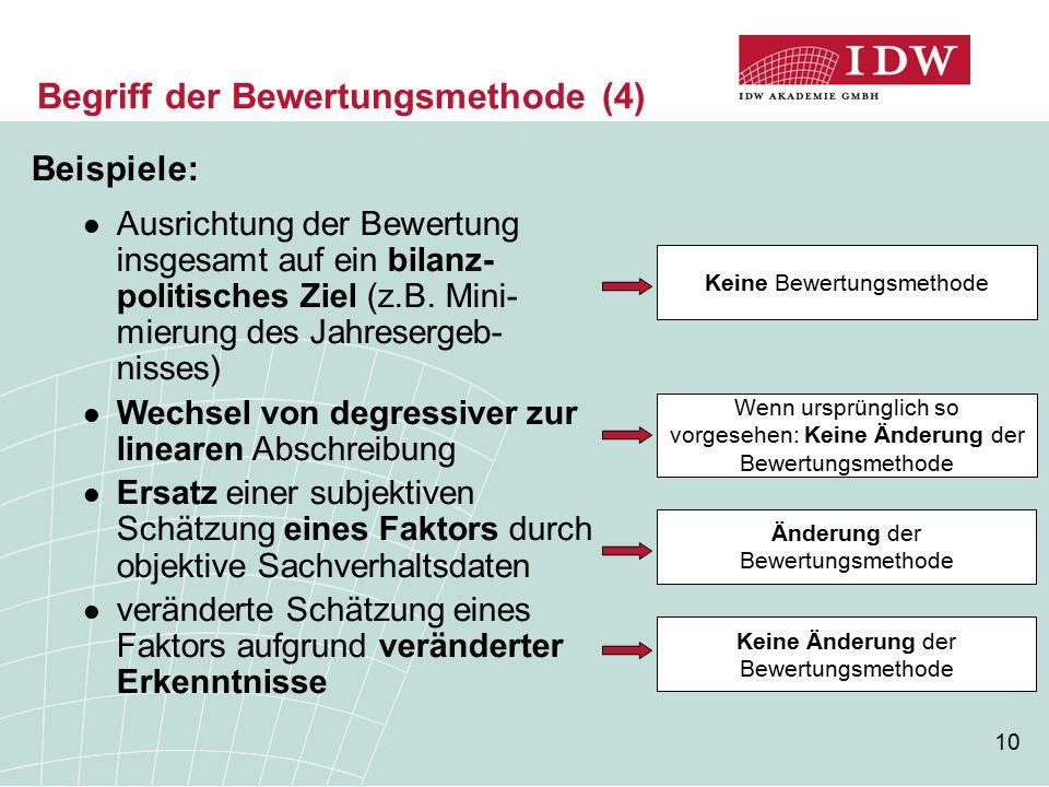 10 Begriff der Bewertungsmethode (4) Beispiele: Ausrichtung der Bewertung insgesamt auf ein bilanz- politisches Ziel (z.B. Mini- mierung des Jahreserg