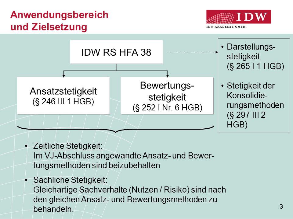 3 Anwendungsbereich und Zielsetzung IDW RS HFA 38 Ansatzstetigkeit (§ 246 III 1 HGB) Bewertungs- stetigkeit (§ 252 I Nr. 6 HGB) Darstellungs- stetigke