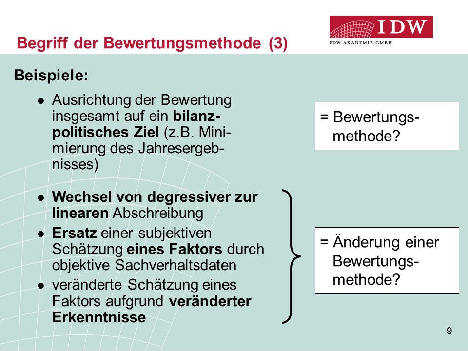 9 Begriff der Bewertungsmethode (3) Beispiele: Ausrichtung der Bewertung insgesamt auf ein bilanz- politisches Ziel (z.B. Mini- mierung des Jahreserge