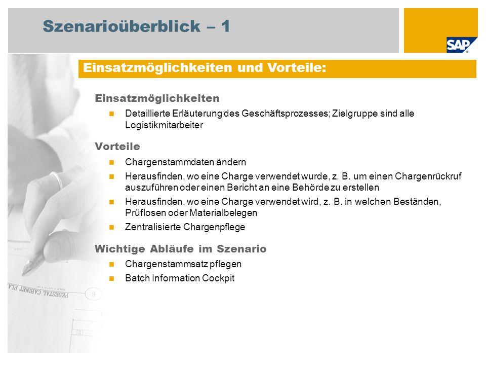 Erforderlich SAP EHP3 for SAP ERP 6.0 EhP3 An den Abläufen beteiligte Benutzerrollen Qualitätsmanagement Lagerverwaltung Erforderliche SAP-Anwendungen: Szenarioüberblick – 2