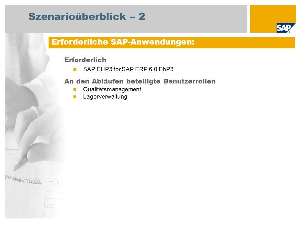 Erforderlich SAP EHP3 for SAP ERP 6.0 EhP3 An den Abläufen beteiligte Benutzerrollen Qualitätsmanagement Lagerverwaltung Erforderliche SAP-Anwendungen