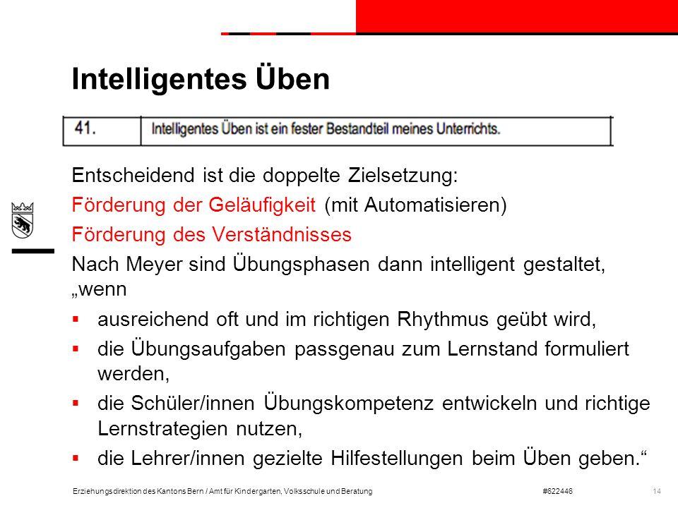 Erziehungsdirektion des Kantons Bern / Amt für Kindergarten, Volksschule und Beratung#622446 Intelligentes Üben Entscheidend ist die doppelte Zielsetz