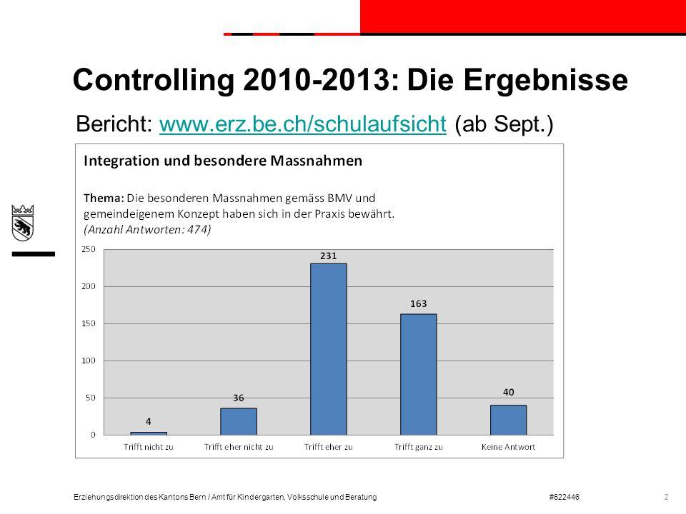 Erziehungsdirektion des Kantons Bern / Amt für Kindergarten, Volksschule und Beratung#622446 Controlling 2010-2013: Die Ergebnisse Bericht: www.erz.be