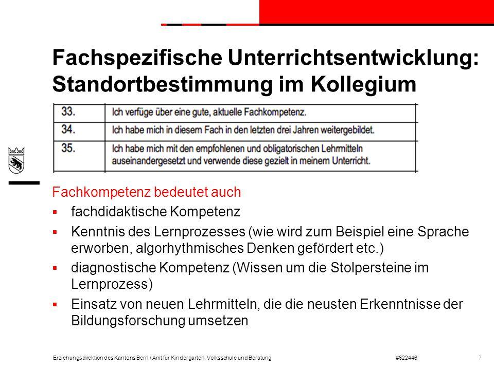 Erziehungsdirektion des Kantons Bern / Amt für Kindergarten, Volksschule und Beratung#622446 Fachspezifische Unterrichtsentwicklung: Standortbestimmun