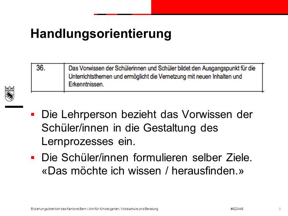 Erziehungsdirektion des Kantons Bern / Amt für Kindergarten, Volksschule und Beratung#622446 Handlungsorientierung  Die Lehrperson bezieht das Vorwis
