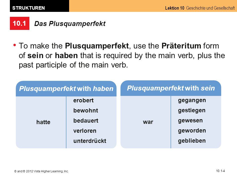 10.1 Lektion 10 Geschichte und Gesellschaft STRUKTUREN © and ® 2012 Vista Higher Learning, Inc. 10.1-4 Das Plusquamperfekt To make the Plusquamperfekt