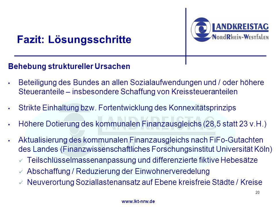 www.lkt-nrw.de Fazit: Lösungsschritte Behebung struktureller Ursachen Beteiligung des Bundes an allen Sozialaufwendungen und / oder höhere Steueranteile – insbesondere Schaffung von Kreissteueranteilen Strikte Einhaltung bzw.