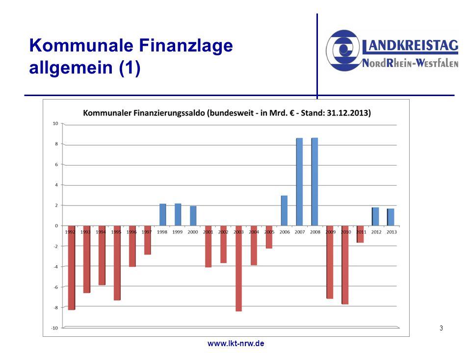 www.lkt-nrw.de Kommunale Finanzlage allgemein (1) 3