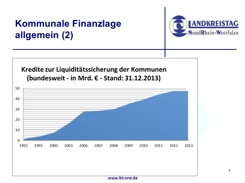 www.lkt-nrw.de Kommunale Finanzlage allgemein (2) 4