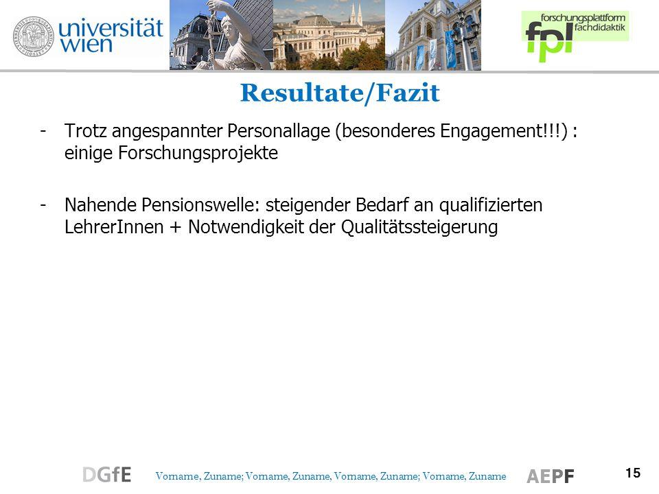15 Vorname, Zuname; Vorname, Zuname, Vorname, Zuname; Vorname, Zuname AEPF Resultate/Fazit -Trotz angespannter Personallage (besonderes Engagement!!!)