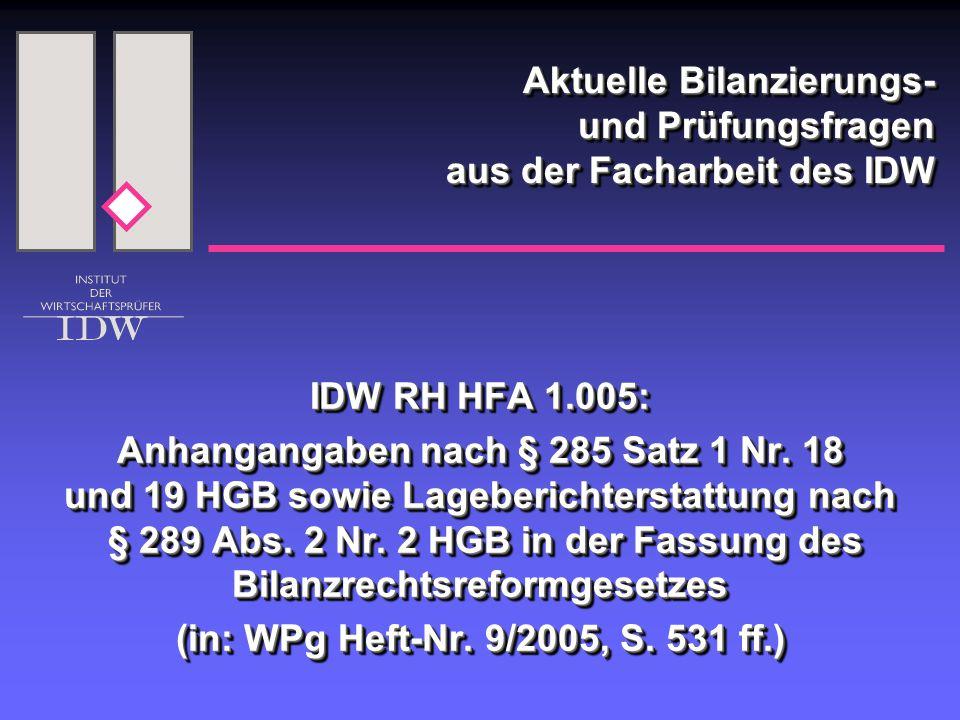 Aktuelle Bilanzierungs- und Prüfungsfragen aus der Facharbeit des IDW IDW RH HFA 1.005: Anhangangaben nach § 285 Satz 1 Nr.