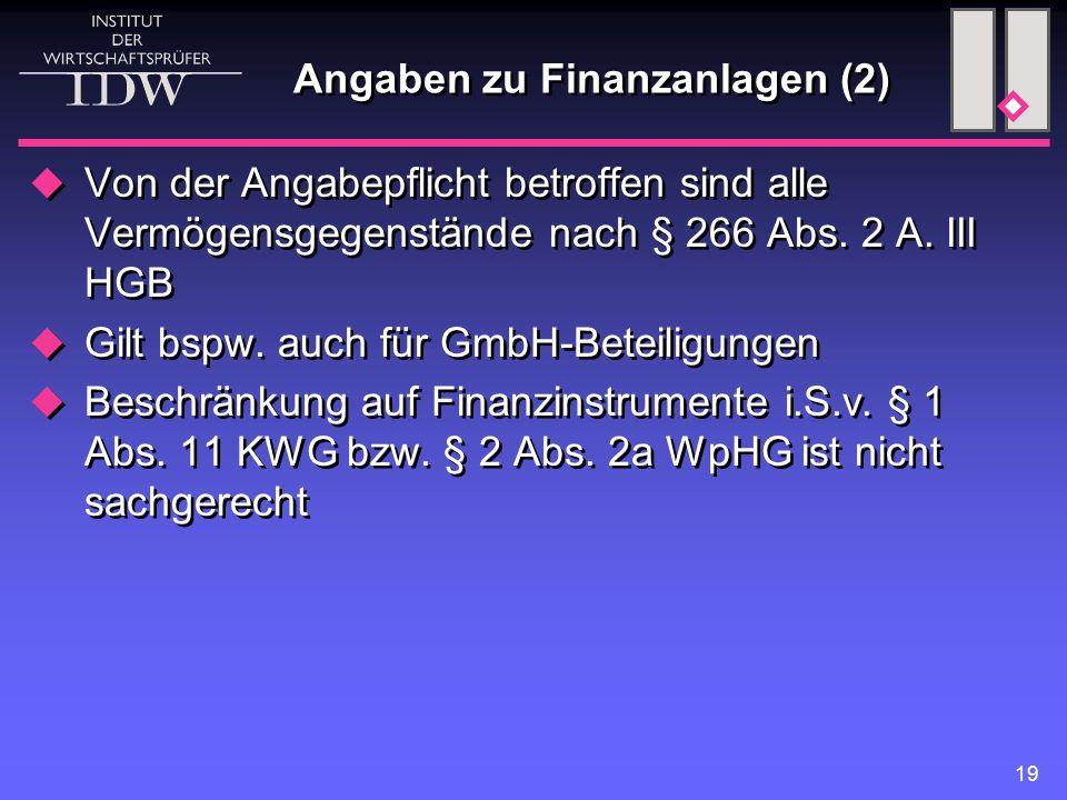19 Angaben zu Finanzanlagen (2)  Von der Angabepflicht betroffen sind alle Vermögensgegenstände nach § 266 Abs.