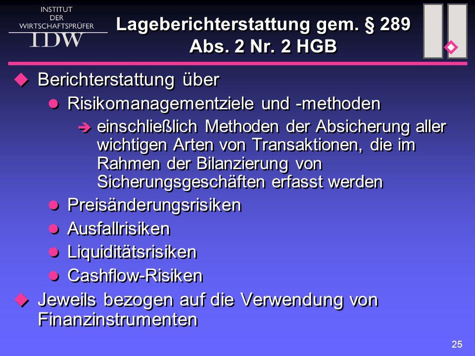 25 Lageberichterstattung gem.§ 289 Abs. 2 Nr.