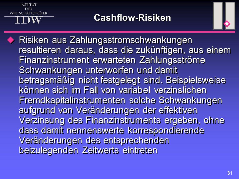 31 Cashflow-Risiken  Risiken aus Zahlungsstromschwankungen resultieren daraus, dass die zukünftigen, aus einem Finanzinstrument erwarteten Zahlungsströme Schwankungen unterworfen und damit betragsmäßig nicht festgelegt sind.