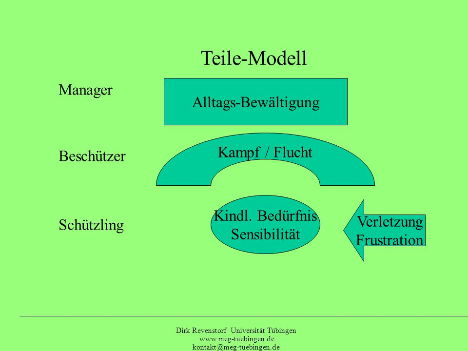 Dirk Revenstorf Universität Tübingen www.meg-tuebingen.de kontakt@meg-tuebingen.de Psychodynamisches Basismodell ImpulsHemmung Abwehr Anpassung (Manager) Sensibilität (Schützling Frühere Erfahrungen (Frustrationen)
