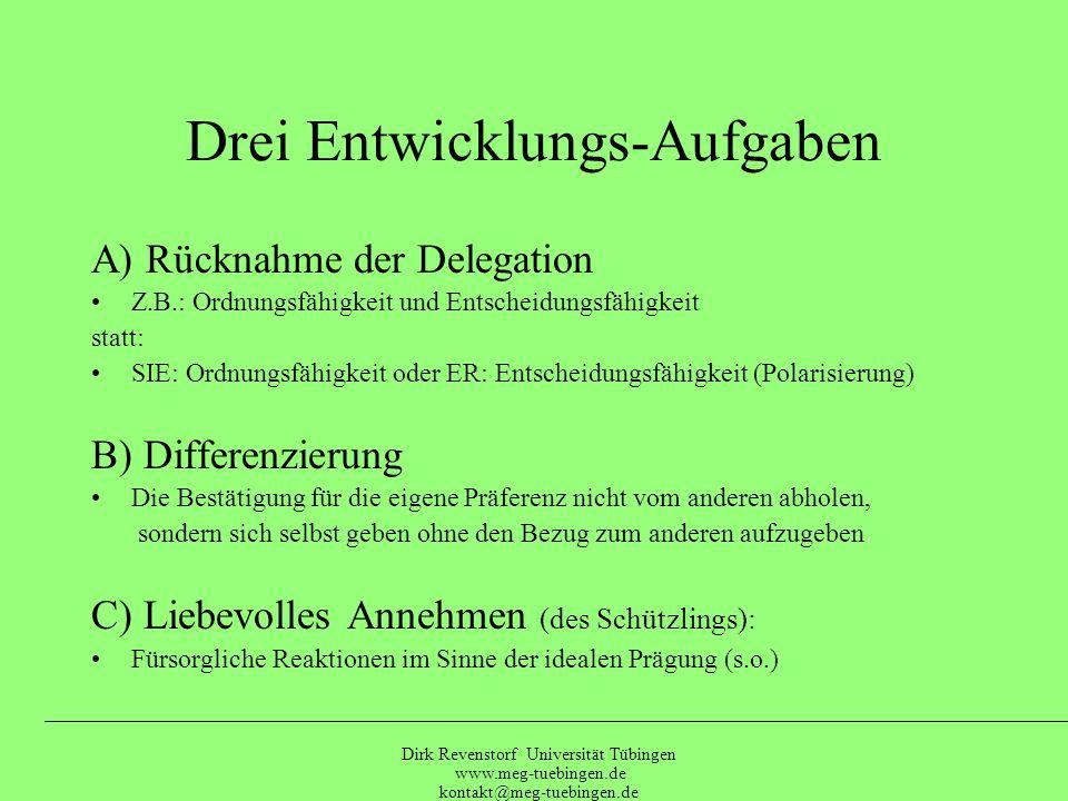 Dirk Revenstorf Universität Tübingen www.meg-tuebingen.de kontakt@meg-tuebingen.de Erwünscht zu sein Stabile Zuwendung Bestätigt werden Versorgt zu werden Unterstützung zu erhalten Sich nicht unterordnen Keine Vereinnahmung Geborgenheit Beachtet zu werden Anerkennung FrustriertesFeuerwehr Angst Grundbedürfnis (Beschützer) (Schützling) Rückzug Misstrauen Abwertung Abhängigkeit Unselbständig Gefühllos sein Absichten verbergen Passiver Widerstand Verzweiflung Rigidität Überflutung Enttäuschung Würdelosigkeit Verlust Missbrauch Festlegung Distanz Nichtbeachtung Hingabe