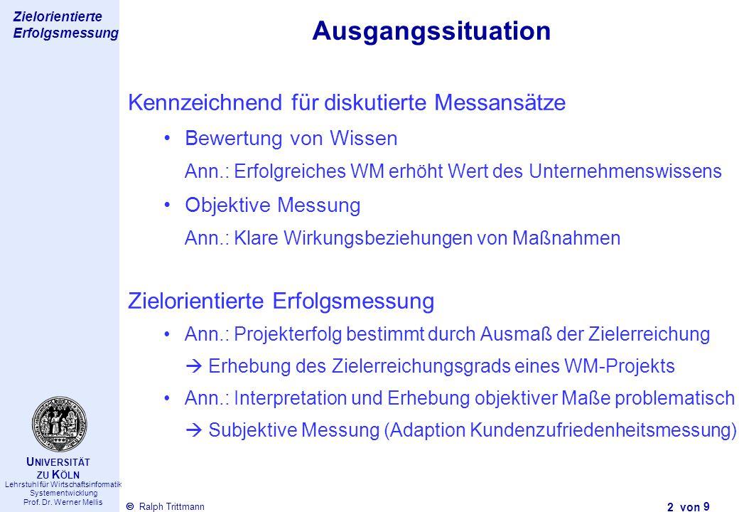 Thema des Vortrags 2 von Ralph Trittmann  Lehrstuhl für Wirtschaftsinformatik Systementwicklung Prof. Dr. Werner Mellis U NIVERSITÄT ZU K ÖLN Zielori