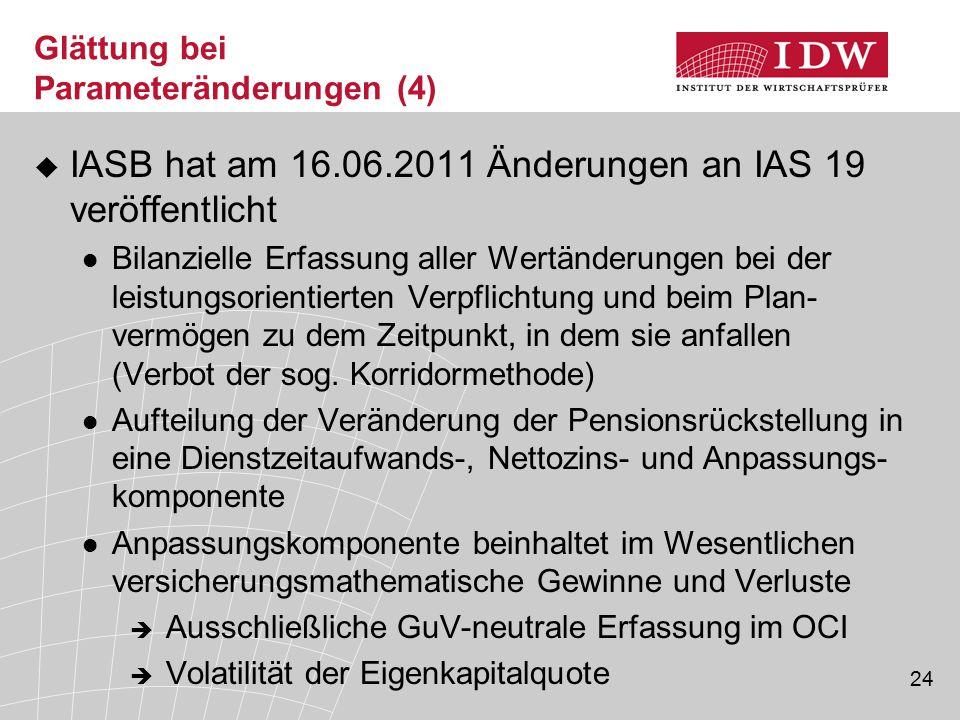 24 Glättung bei Parameteränderungen (4)  IASB hat am 16.06.2011 Änderungen an IAS 19 veröffentlicht Bilanzielle Erfassung aller Wertänderungen bei de