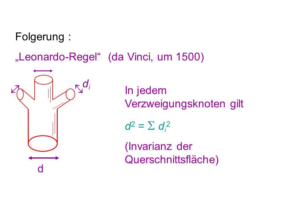 "Folgerung : ""Leonardo-Regel (da Vinci, um 1500) d  didi  In jedem Verzweigungsknoten gilt d 2 =  d i 2 (Invarianz der Querschnittsfläche)"