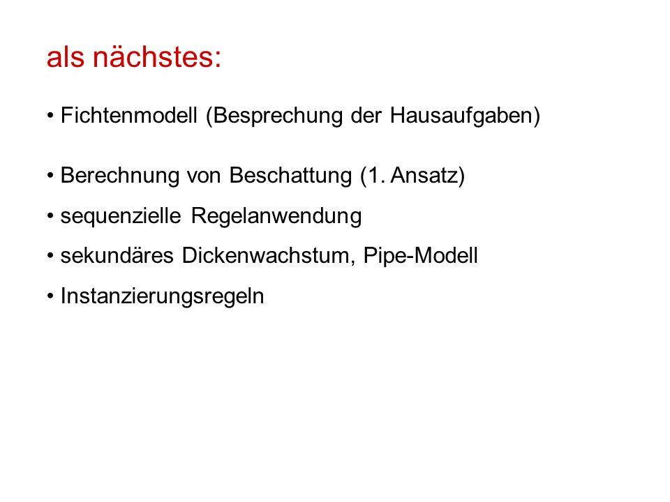als nächstes: Fichtenmodell (Besprechung der Hausaufgaben) Berechnung von Beschattung (1.