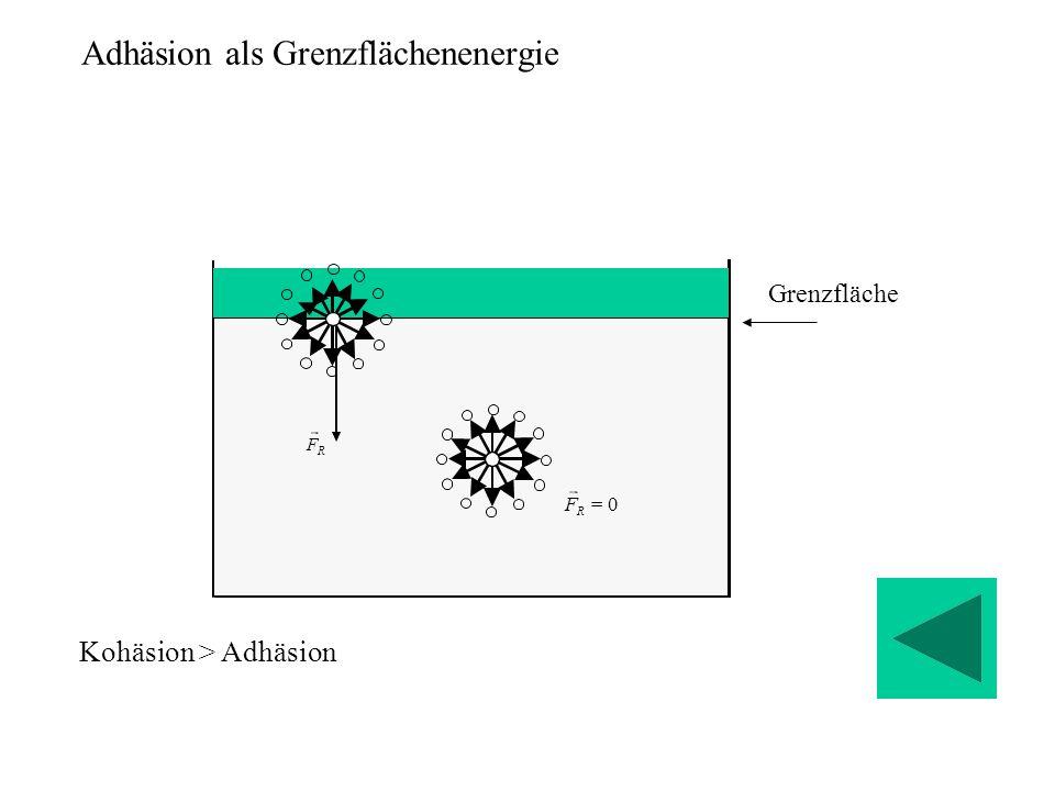 Adhäsion als Grenzflächenenergie Grenzfläche 0  R F R F Kohäsion > Adhäsion