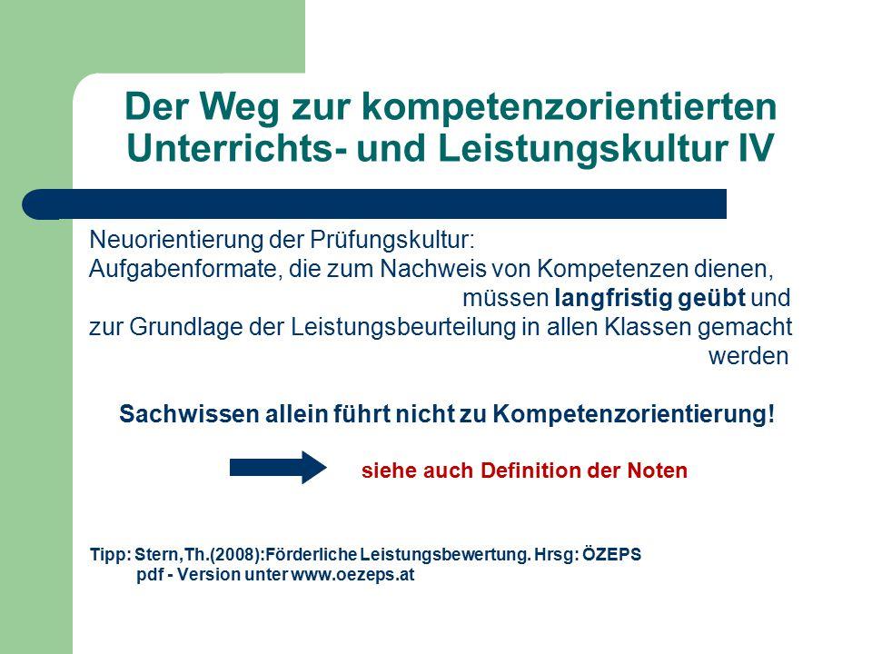Der Weg zur kompetenzorientierten Unterrichts- und Leistungskultur IV Neuorientierung der Prüfungskultur: Aufgabenformate, die zum Nachweis von Kompet
