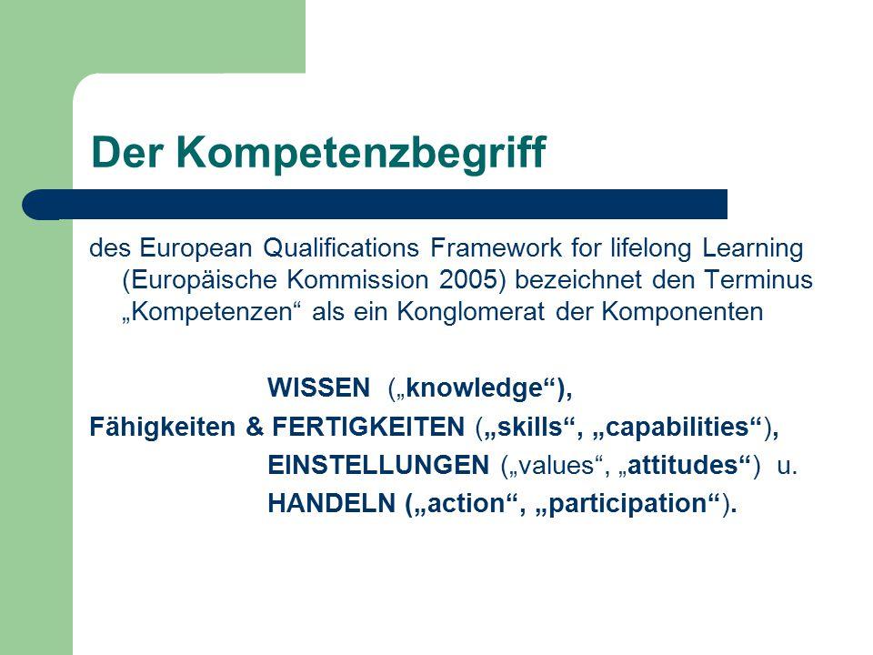 """Der Kompetenzbegriff des European Qualifications Framework for lifelong Learning (Europäische Kommission 2005) bezeichnet den Terminus """"Kompetenzen als ein Konglomerat der Komponenten WISSEN (""""knowledge ), Fähigkeiten & FERTIGKEITEN (""""skills , """"capabilities ), EINSTELLUNGEN (""""values , """"attitudes ) u."""